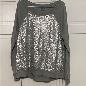 Gray dressy sequence sweatshirt!
